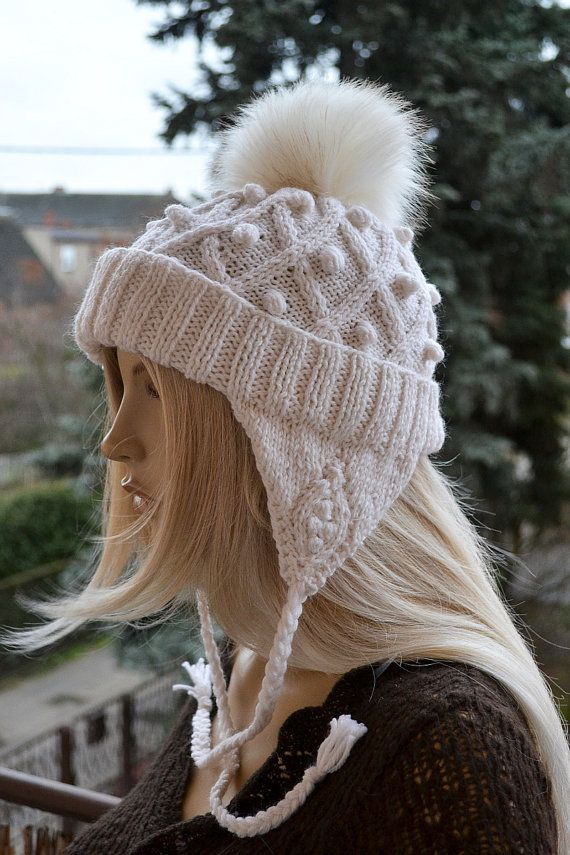 Cream Knitted Slouchy Beanie Hat Knitted cap in fur by DosiakStyle, #beanie, #knitedcap