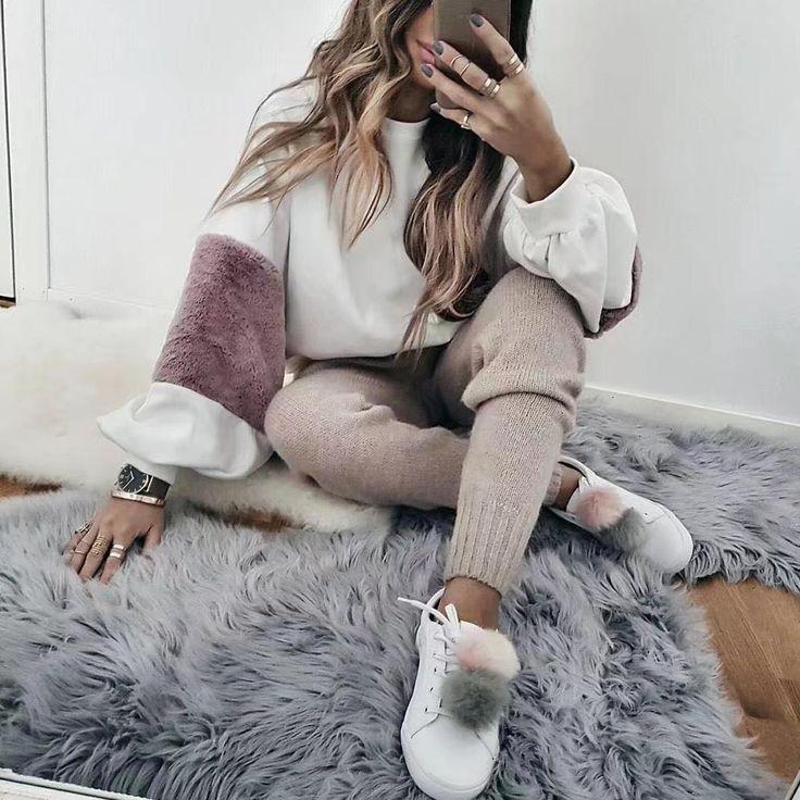 FREE SHIPPING Women Faux Fur Crop Hoodies Sweatshirt Tumblr Oversize Pink JKP282