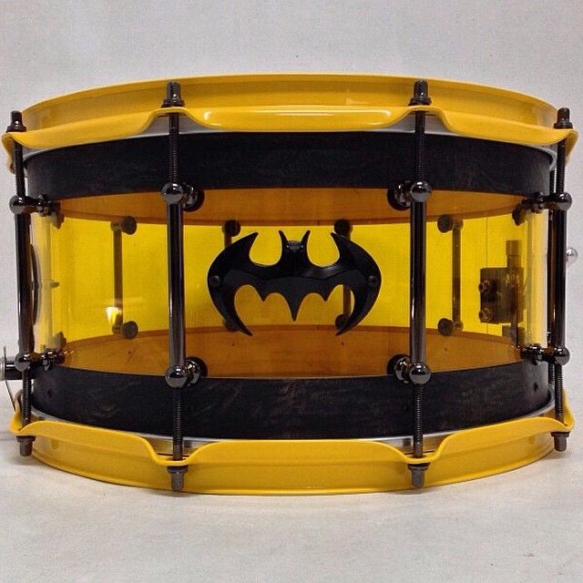 1980's / '80s Batman Snare drum. Made by AJP Custom Drum Company. RESEARCH including source: #cSw:) DRUMMER DRUMMING - https://www.pinterest.com/claxtonw/drummer-drumming/ - Cleveland, Tennessee maker chose a clear yellow shell with black rings & bat emblem for this fun vintage drum inspired by the Superhero Comics.