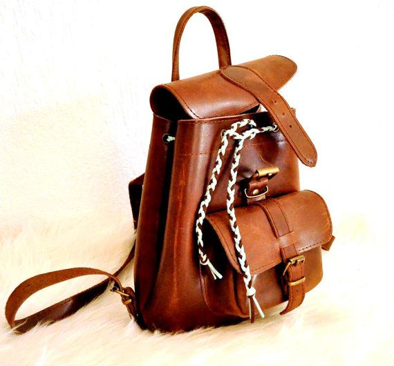 Petite Distressed Leather Backpack by TheSquareMoon on Etsy, €62.00