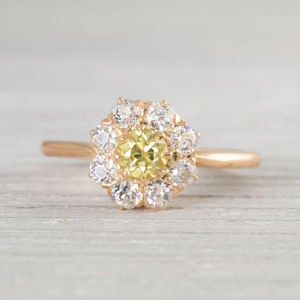 Antique Victorian Yellow Diamond Engagement Ring
