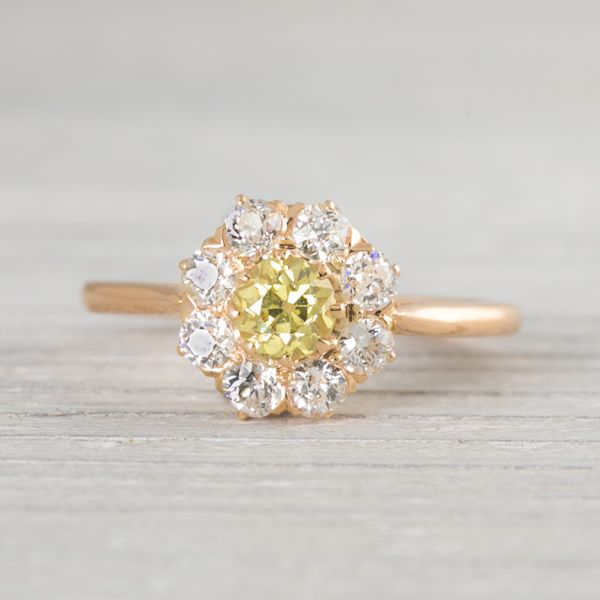 Antique Victorian Yellow Diamond Engagement Ring