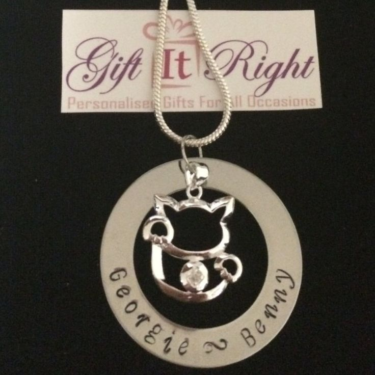 Cat Personalised Hand Stamped Necklace by Giftitright on Etsy