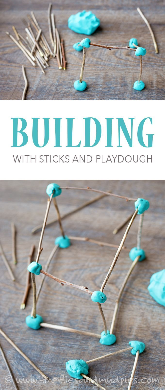 Building with sticks and playdough - easy to prepare engineering project for kids!