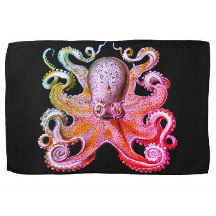 Nautical sea  Octopus decor kitchen towel pink - home gifts cool custom diy cyo