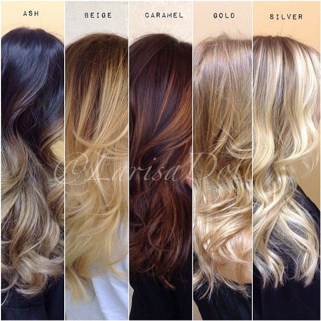 The amazing thing about a color melt is it can compliment each skin tone ! It's low maintenance and looks amazing on long, mid & short hair.  Ash. Beige. Caramel. Gold. Silver.  Which one is your favorite ?  Tag a friend and let them know what you think what color would best compliment their skin tone. #HairByLarisaLove
