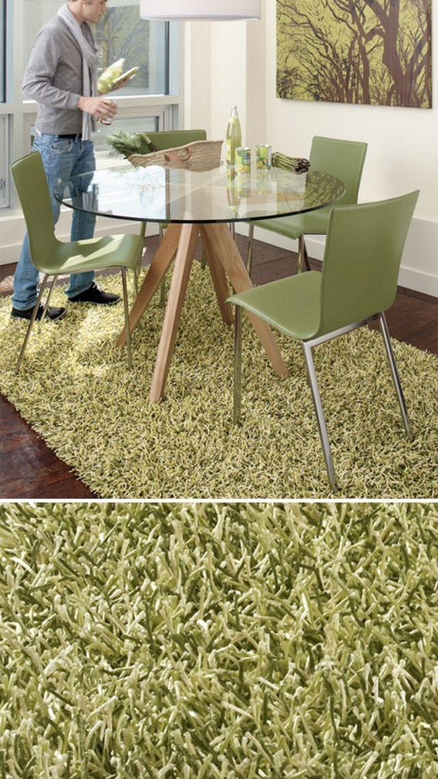 CB2 par shag rug -- green