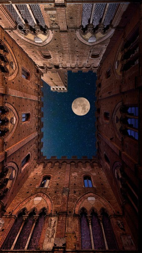 The Moon And The Castle - Photography by Mauro Maione Full moon viewed from the Town Hall building in Siena, Italy. Luxury Beauty - http://amzn.to/2jx73RT