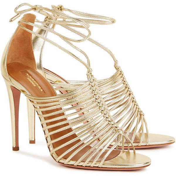 Aquazzura Nadja Gold Leather Sandals - Size 4 (€680) ❤ liked on Polyvore featuring shoes, sandals, high heel sandals, open toe shoes, gold sandals, high heel shoes and gold high heel sandals