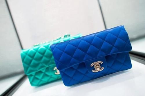 turquoise/blue chanel clutch