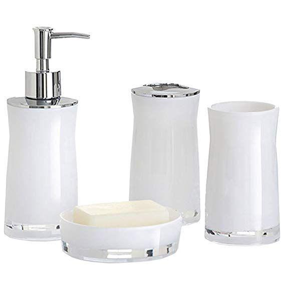 Amazon Com Funnuf 4 Pieces Acrylic Bathroom Accessories Bath Ensemble Set Lotion Soap Dispenser Pump S Soap Pump Dispenser Soap Dispenser Bathroom Accessories