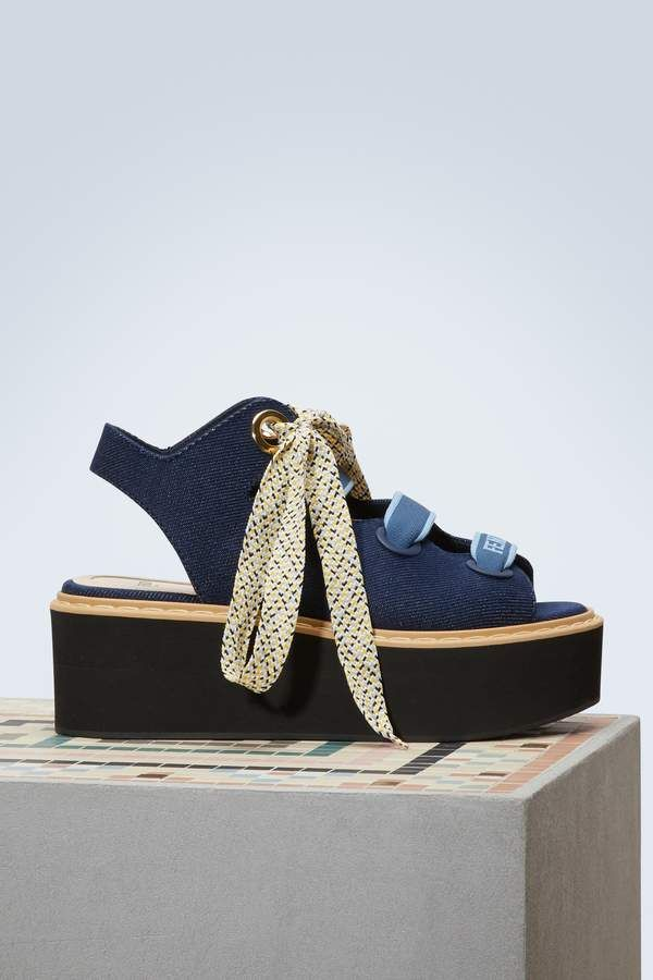 452609051c4 Fendi Denim platforms sandals