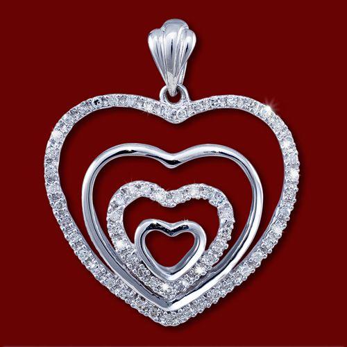 Colgante de Oro Blanco y Diamantes, Corazones Conectados