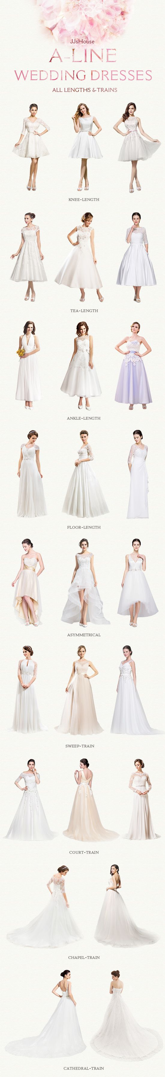 Ball gown wedding dresses with all lengths & trains.Hope it can help you as a reference when you choose your wedding dress.JJsHouse Your One Stop Shop For Wedding Dresses #JJsHouse