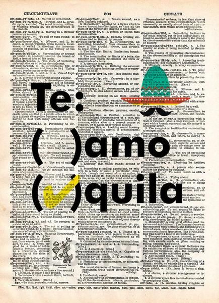 Tequila quote art, teamo tequila, funny tequila bar art -  - 1