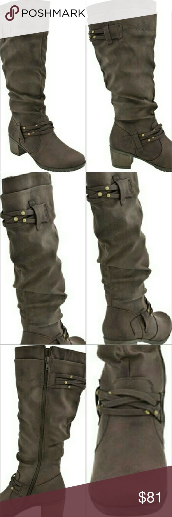 NWT White Mountain Suede knee high boots White Mountain Suede knee high boots.Gorgeous detailing at ankle and shaft. 2 1/2 heel. Brand new in box! White Mountain Shoes Heeled Boots