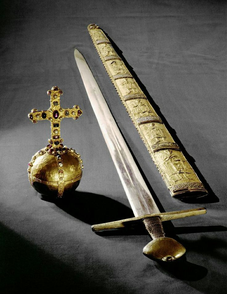 Imperial Orb, Sword and Scabbard of the Holy Roman Empire. The orb was made in…