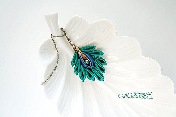Satin Peacock Feather Tsumami Kanzashi Antique Necklace