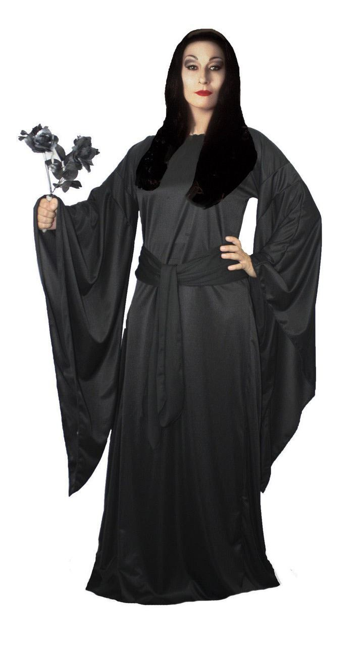 Ladies The Addams Family Black Morticia Halloween Fancy Dress Costume - The Dragons Den Fancy Dress