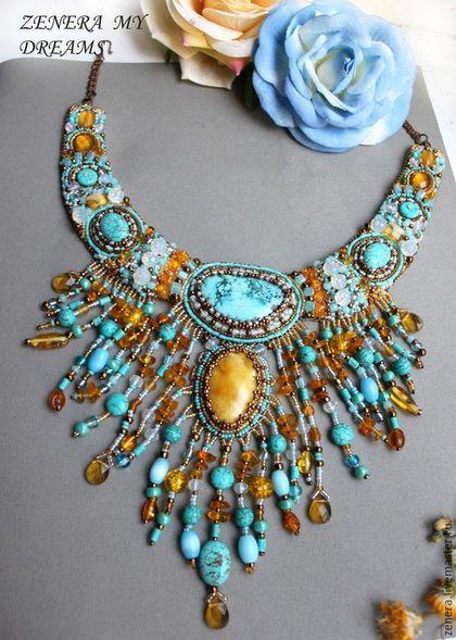 """Купить колье """"Сны о море"""" - бирюзовый, украшение с бирюзой, натуральный янтарь, украшение с янтарем"""