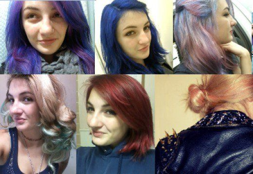 A magical hair-color journey--from teal through turquoise, blue, purple, pink, and red.