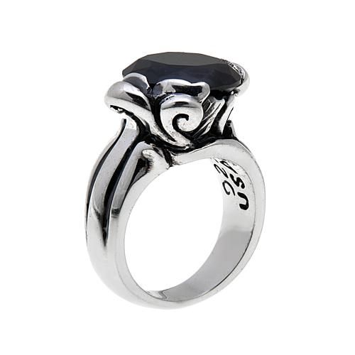 King Baby Jewelry Sterling Silver Round Augite Rose Ring