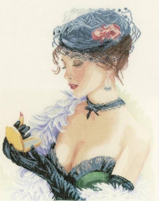 Lady With Lipstick Cross Stitch Kit - £63.00 on Past Impressions | by Lanarte