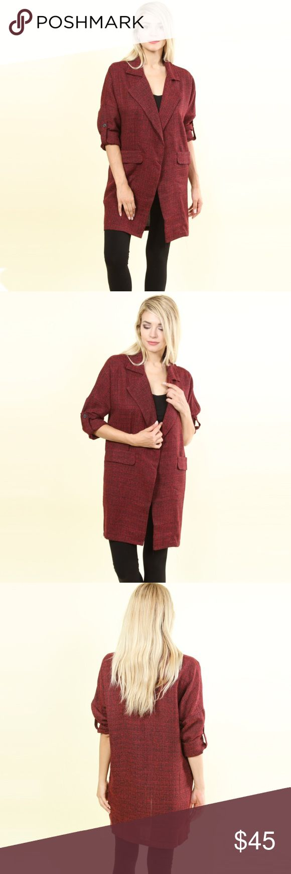 Business/Pleasure Trenchcoat Cardigan in Sangre 🍷 Brand: Hot & Delicious S Length: 33 S Waist: Free S Bust: Free Fits Sizes: XS-M  M Length: 34.5 M Waist: Free M Bust: Free Fits Sizes: S-L  L Length: 36 L Waist: Free L Bust: Free Fits Sizes: M-XL  🍑Price FIRM unless bundled🍑 Perfect transition piece for fall! This baby is heavy, high quality and sure to be a go-to as the season changes. Open front design and HUGE pockets! Poly tweed. Jackets & Coats Trench Coats