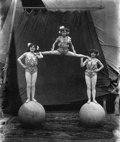 There is a section in our piece where the aerial artist is lifted up into the air. It requires everyones strength, trust and focus which helps give the impression of co- operation and a close family relationship within the circus. Much like this image.