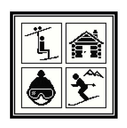 SIKA STITCH @ www.ETSY.com Travel Symbols Ski Holiday - Ski Lift, Skier, Log Cabin, Hat & Goggles [Cross Stitch] **Download PDF Pattern Only**