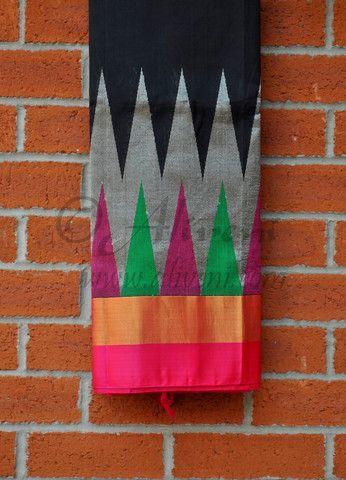 Black Kuppadam Saree with Pink/Green/Silver Zari Temple Border - Aliveni - 1