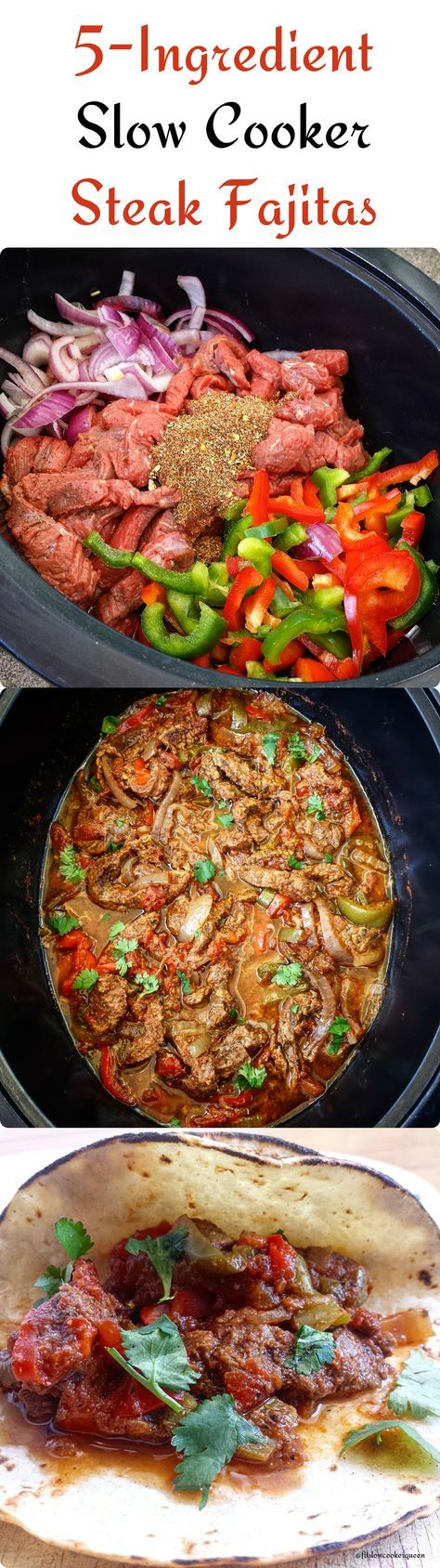 There are only 5-Ingredients in this flavorful slow cooker steak fajitas recipe. #crockpot #slowcooker