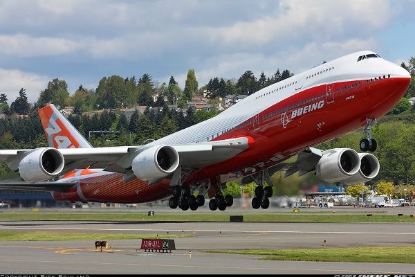 Boeing's 747-8 Intercontinental departs on a sunny afternoon. - Photo taken at Seattle - Boeing Field / King County International (BFI / KBFI) in Washington, USA on May 12, 2011.
