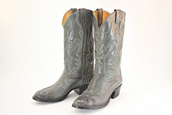 Vintage Cowboy Boots, Snakeskin Cowboy Boots, Men's Cowboy Boots 9D, Size 9D Cowboy Boots, Nacona Snakeskin Cowboy Boots, Mens Cowboy Boots