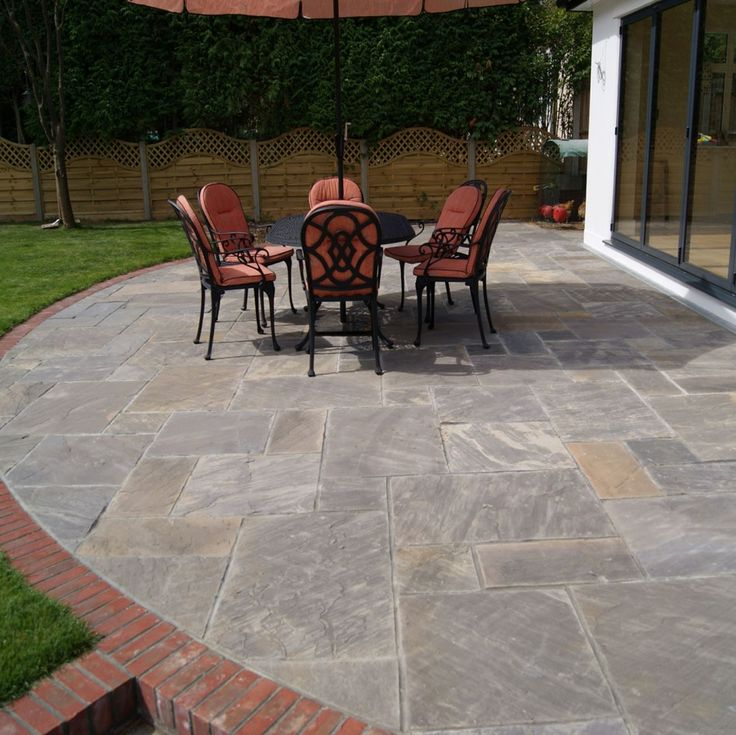 Remarkable Natural Patio Stone Pavers From Charcoal Grey Marble With Red  Brick Raised Porch Floor Edging
