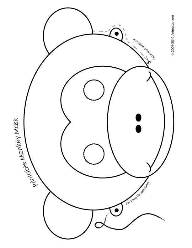 Printable Animal Masks: Monkey Mask printable-monkey-mask-color – Craft Jr.