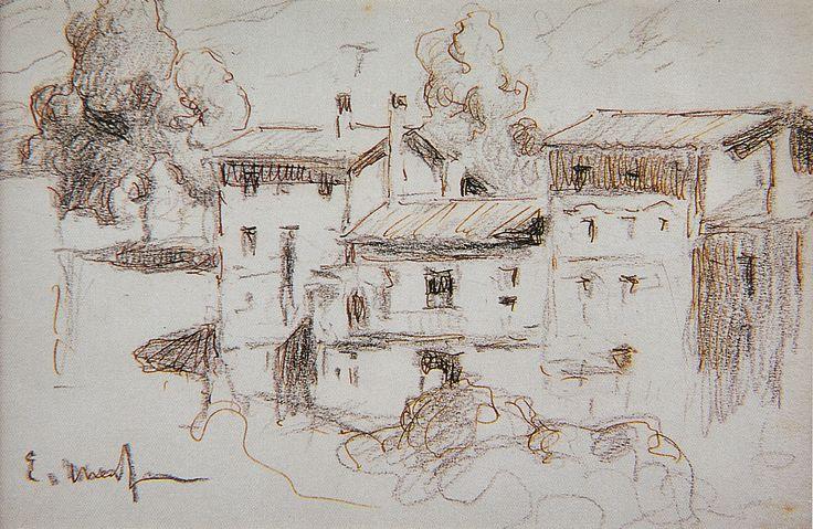 Eliseo Meifrén Roig. Casas de pueblo. Dibujo al lápiz y tinta sobre papel. Firmado. 12 x 19 cm.