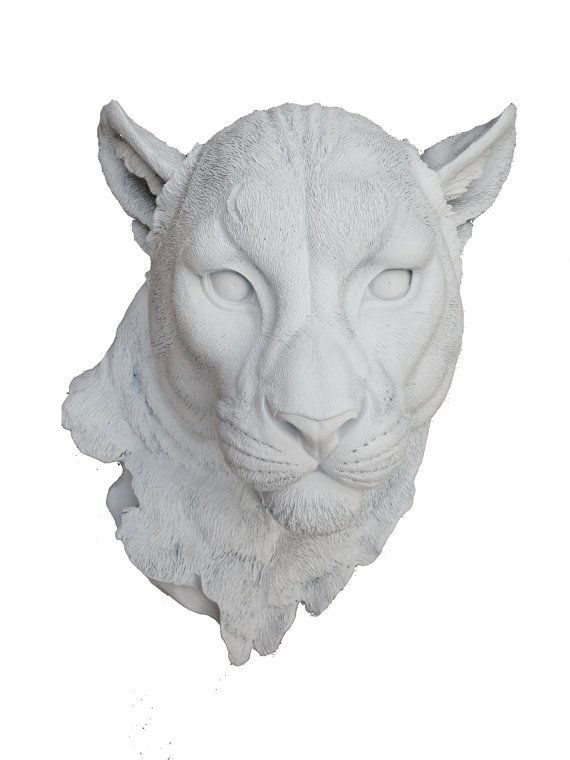 White Panther Head Mount Wall Statue. Faux Taxidermy Fake Panther Head.