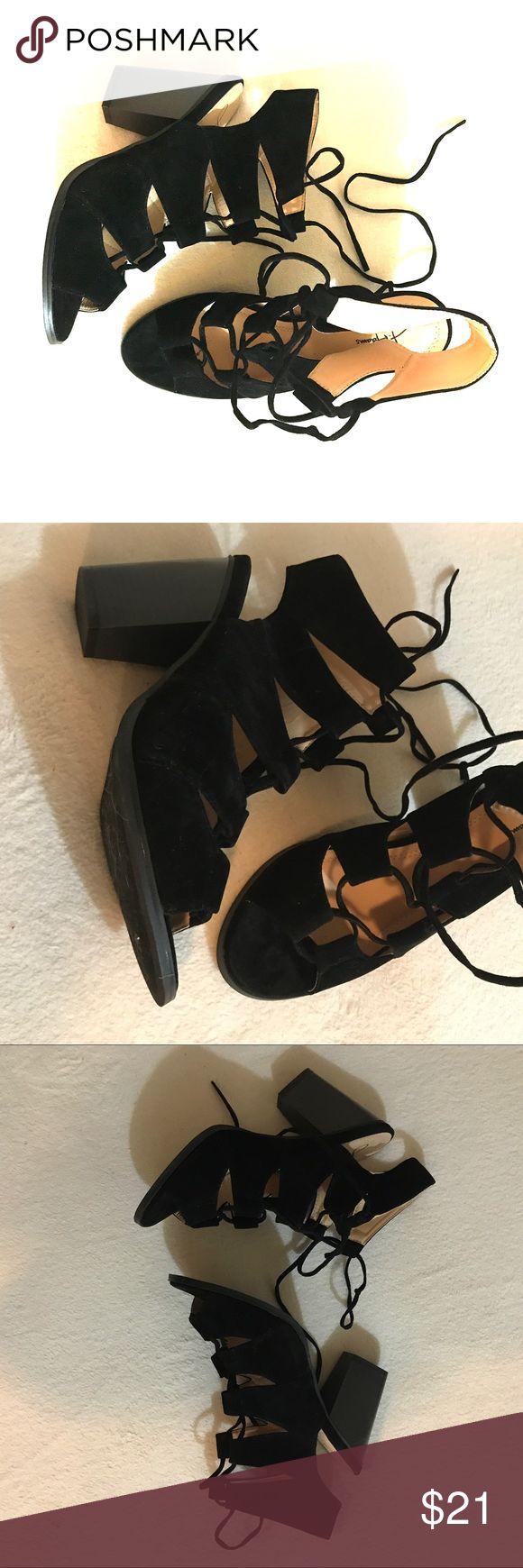 J Adams Katana new cage Lace up Block heels 8 NEW Brand new and never worn. Black j adams katana black suede heels. Super comfortable, just not my style. 8 j adams Shoes Heels