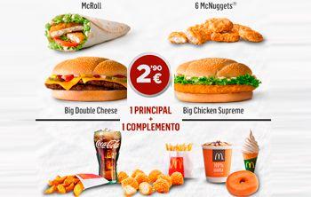 1 Principal + 1 Complemento por 2'90 € en McDonald's