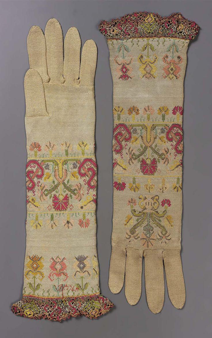 Fingerless gloves eso - Pair Of Women S Knitted Silk Gloves Italian 1650 1700 Museum Of Fine Arts