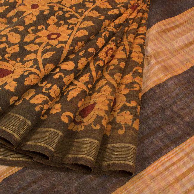 Handcrafted Mustard Yellow Pen Kalamkari Silk Saree With Zari Border & Floral Motifs 10015847 - AVISHYA.COM