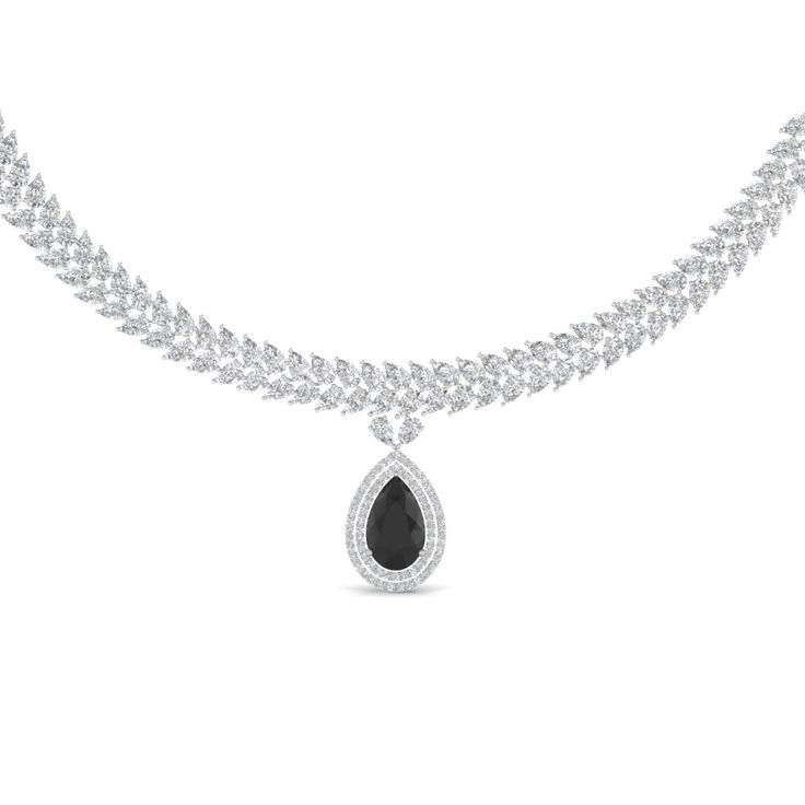 Forever Teardrop Diamond Necklace with Black Diamond in 950 Platinum  exclusively styled by Fascinating Diamonds