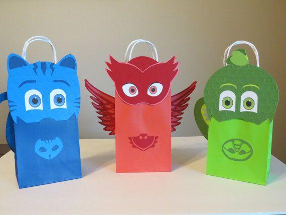 Juego PJ máscara inspirada Goody bolsas de 6 por LoluParty en Etsy