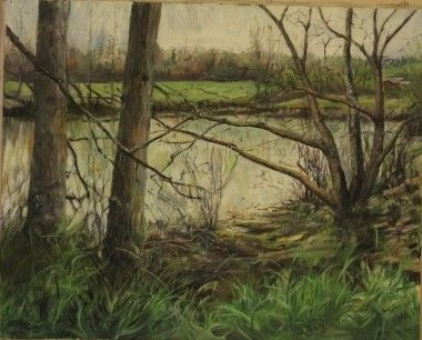 Plein Air - The Neighbor's Pond - Oil on Canvas - Paintings by Stephen Cole