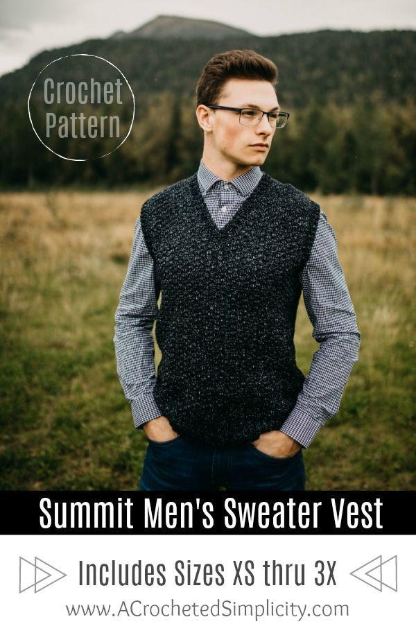Summit Men S Sweater Vest Pattern By Jennifer Pionk Crochet Vest Pattern Crochet Men Men Sweater