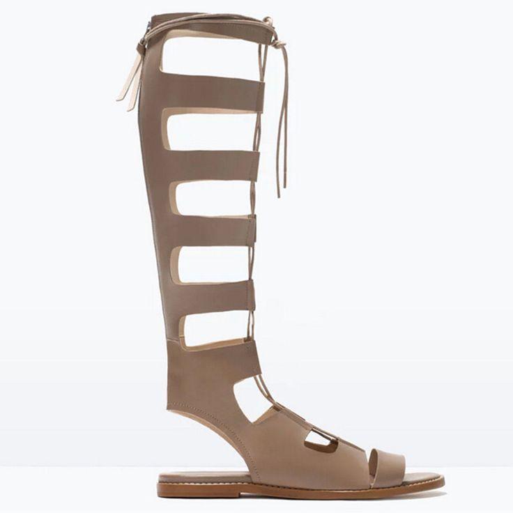 Pas cher Nouveau 2015 summer fashion pu + cuir véritable genou haute sandales gladiateurs de danse discothèque chaussures femme bottes de moto d'été, Acheter  Sandales pour femmes de qualité directement des fournisseurs de Chine:          Bienvenue à femmes chaussures magasin!                 Cher, avoir une bonne journée!
