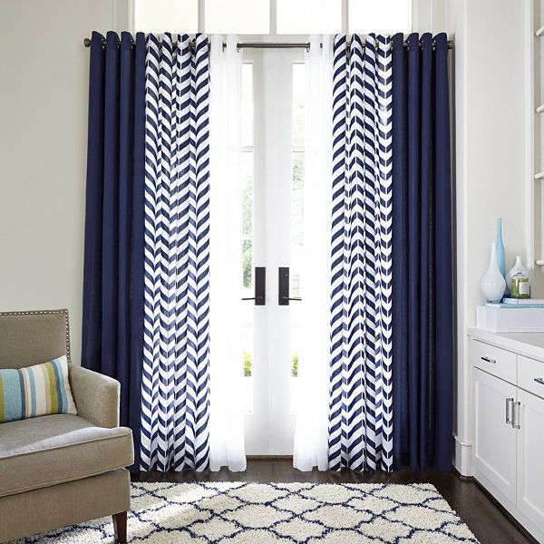 Like the combo of curtain styles #JCPenney Home™ Cotton Classics Broken Chevron Grommet-Top #Curtain Panel