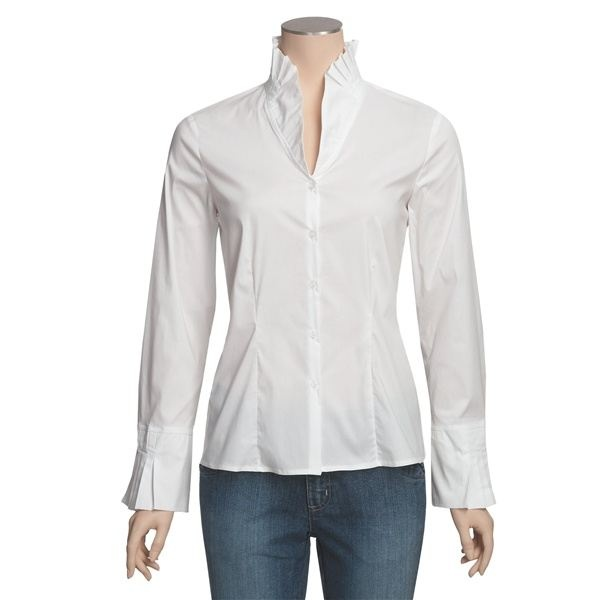 Perfect for long necks and X or or I body types. Hem length flatters most. Avoid with large midriff or full hips.  Dramatic, Classic personal style.