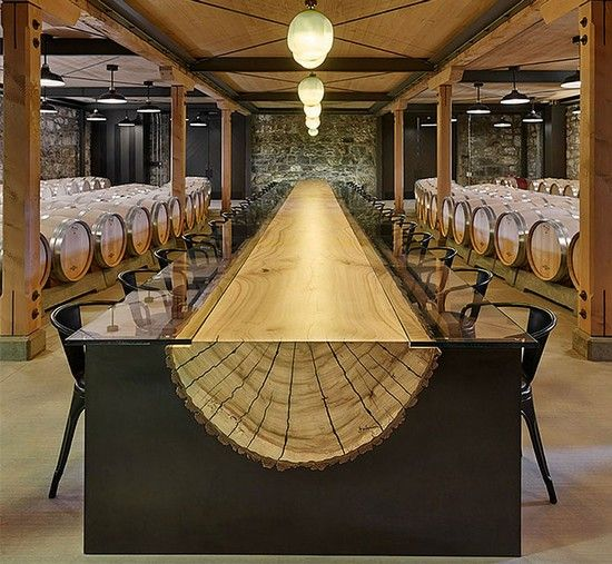 We're blown away by the natural beauty that is incorporated in this dining table. Tree trunk takes on a graphic form that's nothing less than inspiring. #wood #dining #table